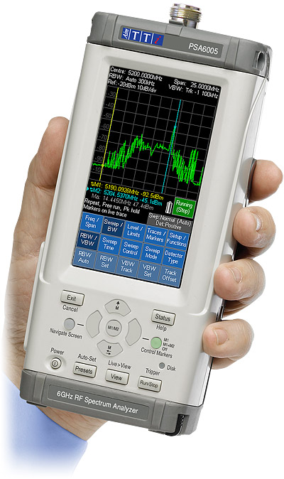 PSA6005 handheld RF spectrum analyzer from Aim-TTi